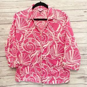 Lilly Pulitzer | pink and white seashell top